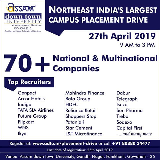 Job Fair at Guwahati :BIG Placement Drive On 27-04-2019