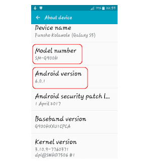 Samsung Galaxy S5 model number and Android version