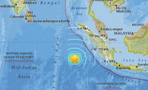 Earthquake epicenter map of Indonesia