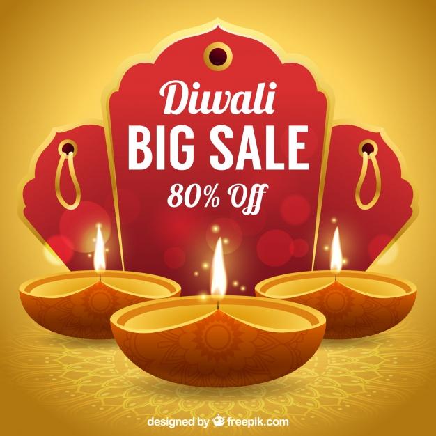 Golden background of diwali sales Free Vector