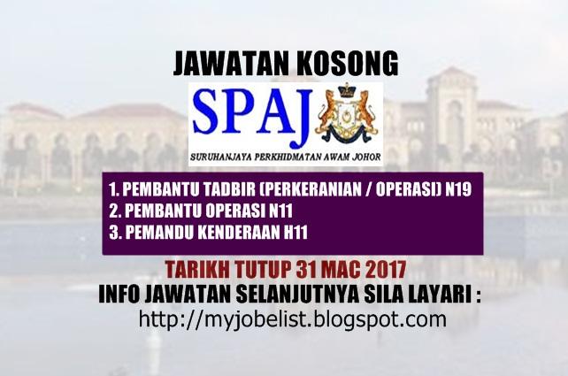 Jawatan Kosong Di Suruhanjaya Perkhidmatan Awam Johor Spaj 31 Mac 2017