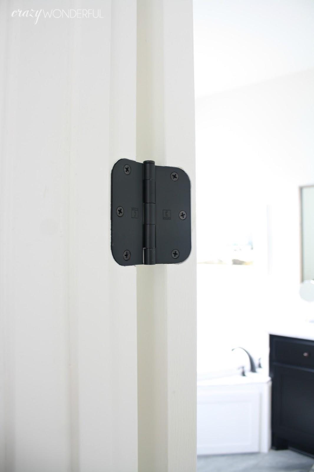 black door hinges installed - Crazy Wonderful