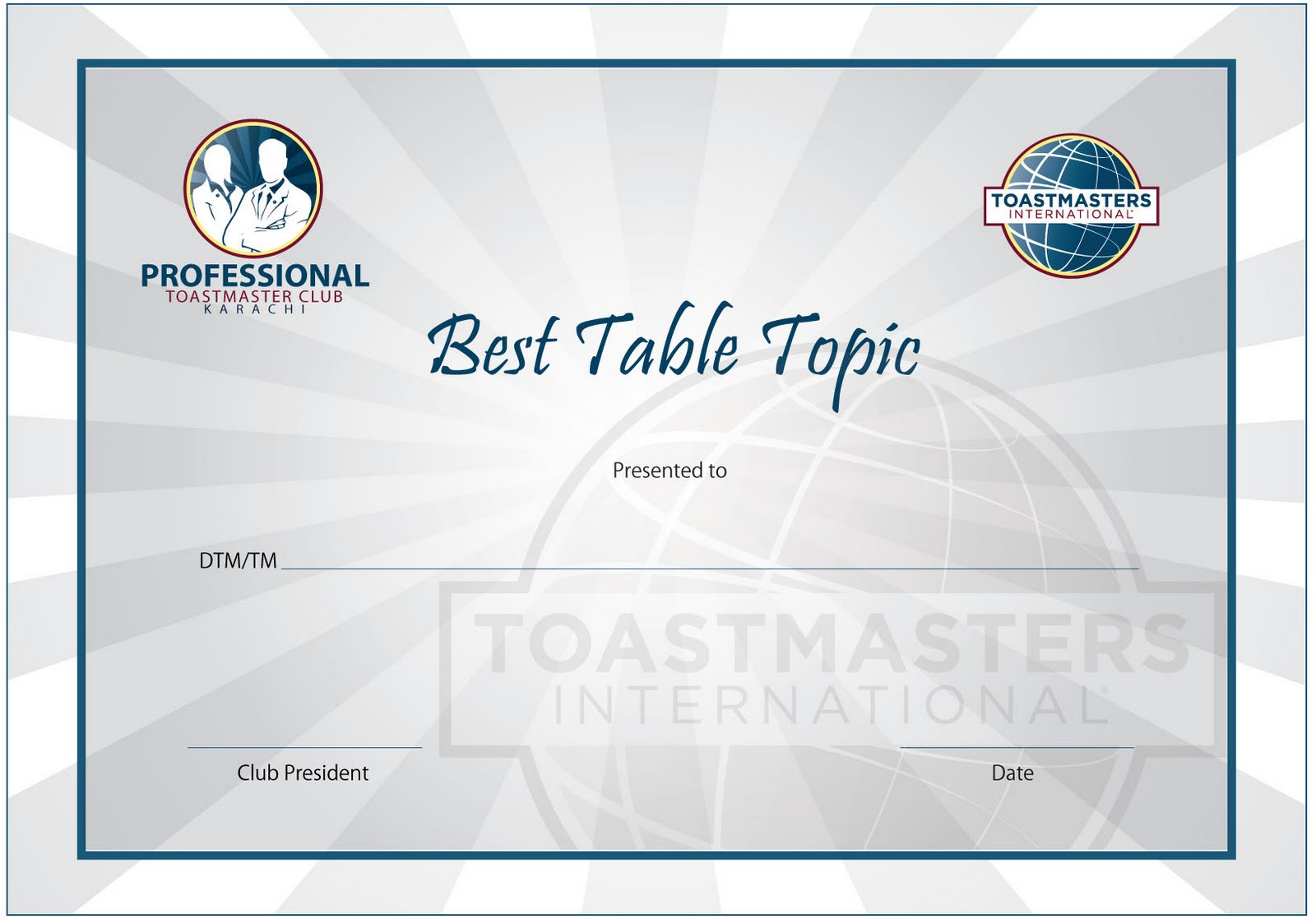 professional toastmasters club karachi our new logo this opportunity was also used to launch our new logo the task of designing our new logo and certificates for the best table topics and best speaker was