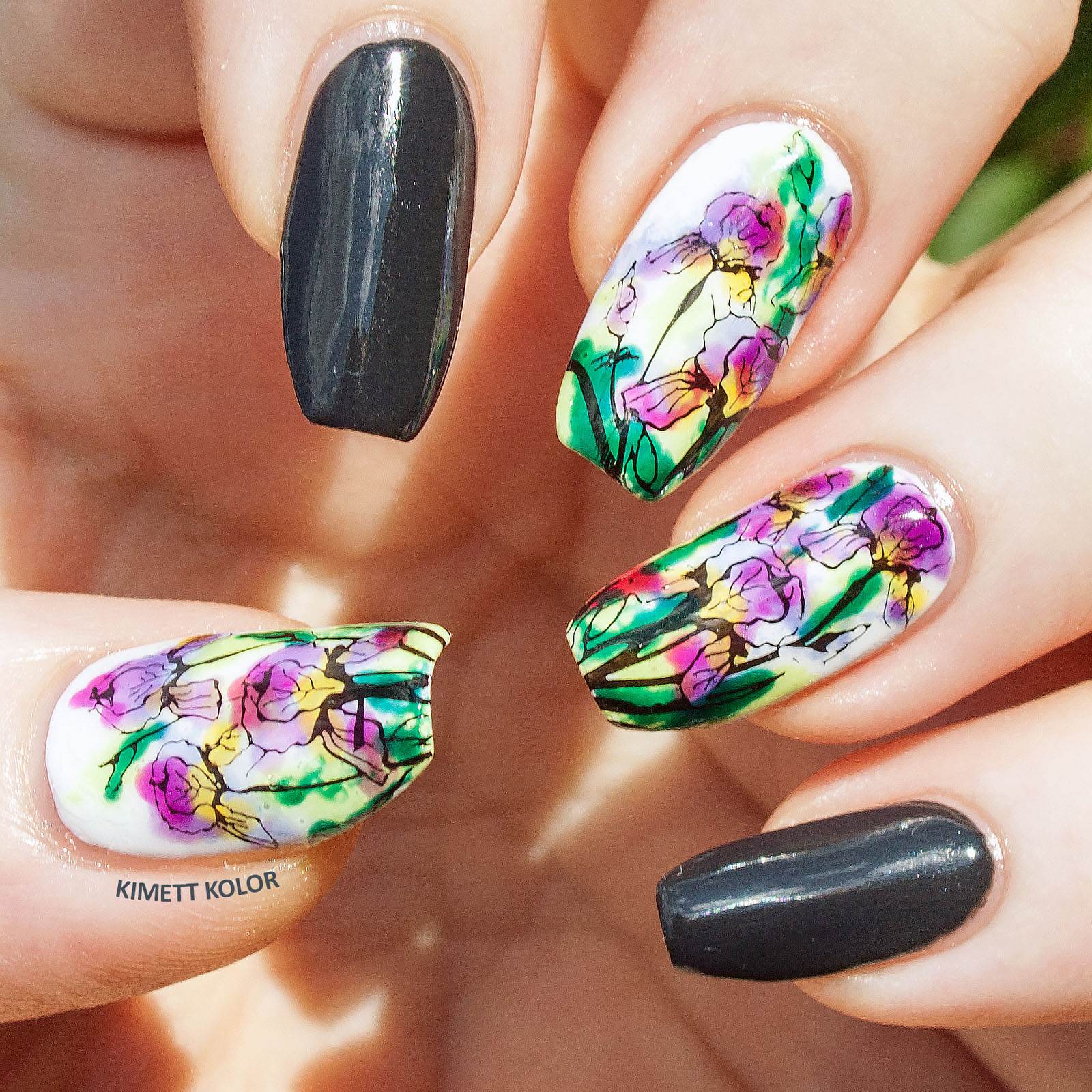 Kimett Kolor Lead Lighting Nail Art with Iris