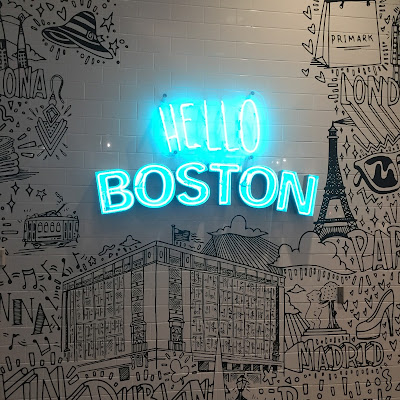 Venture & Roam: Hello Boston, neon Boston sign, blue neon