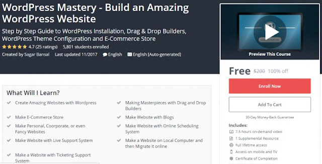 [100% Off] WordPress Mastery - Build an Amazing WordPress Website  Worth 200$