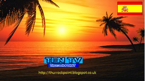 TEN-TV picture of a beautiful beach at sunset, with a Spanish flag and a link to http://thurrockpoint.blogspot.co.uk/