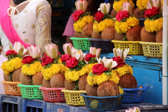 local flower stall in indian temple