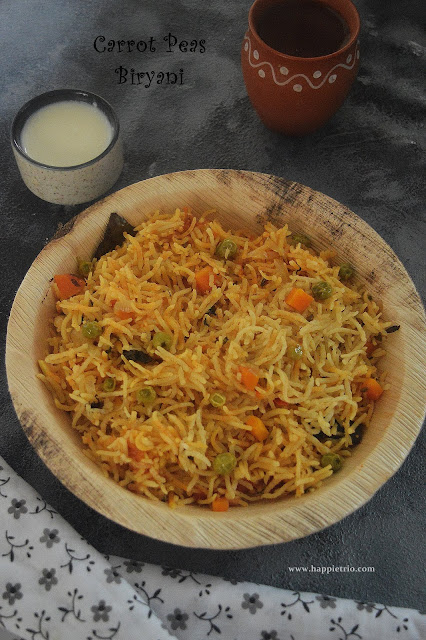 Carrot Green Peas Biryani Recipe | Carrot Patani Biryani