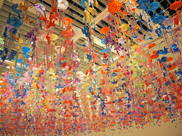 Wind chime art installation in Mori Tower Art Museum, Tokyo, Japan