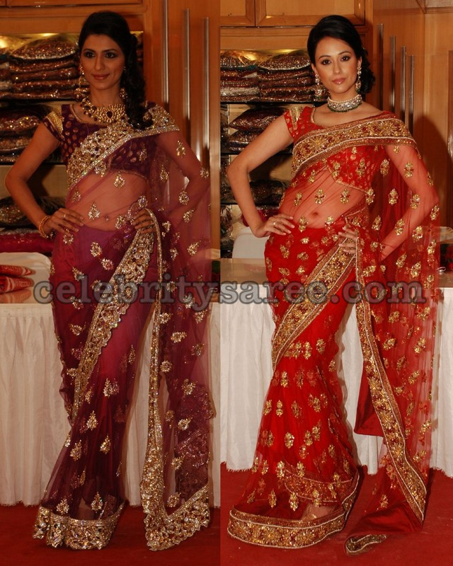 81de12ca1441a1 Red and Purple Net Sarees. Desi Trends 7 years ago banarasi blouse