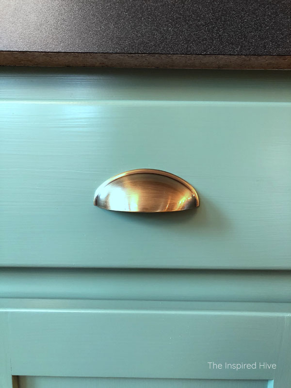 One Room Challenge Progress- antique brass cup pulls drawer hardware
