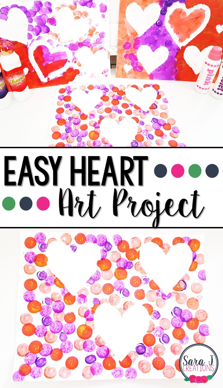 This is an idea for a Valentine's Day heart craft for kids that is so easy yet so so cute and colorful.