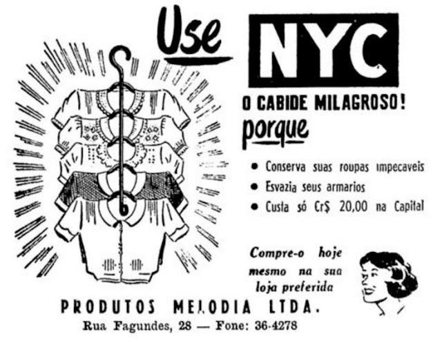 Propaganda do Cabide NYC com solução para compactar espaço para roupas
