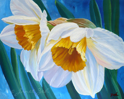 Two daffodils painted on canvas