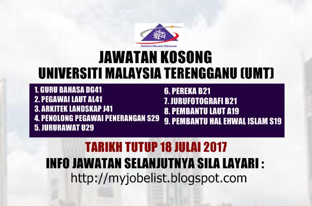 Jawatan Kosong Universiti Malaysia Terengganu (UMT) Julai 2017