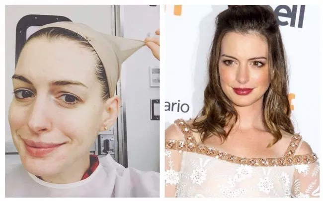 24 Pictures Of Famous Women With And Without Makeup - Anne Hathaway