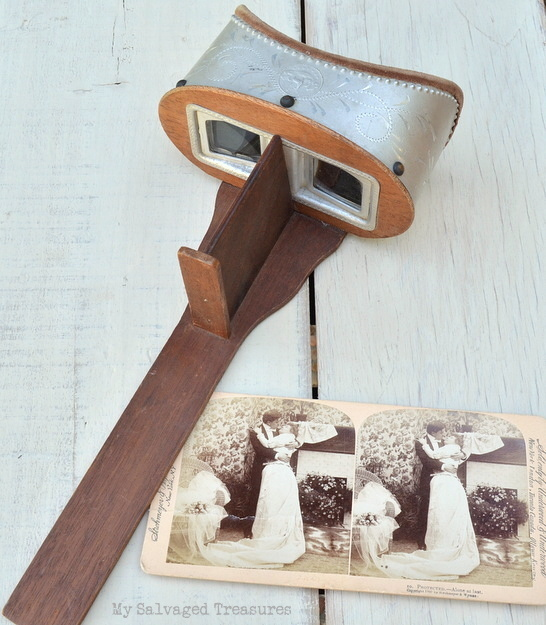 antique stereoscope and card
