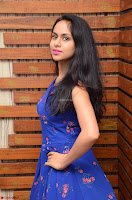 Pallavi Dora Actress in Sleeveless Blue Short dress at Prema Entha Madhuram Priyuraalu Antha Katinam teaser launch 028.jpg