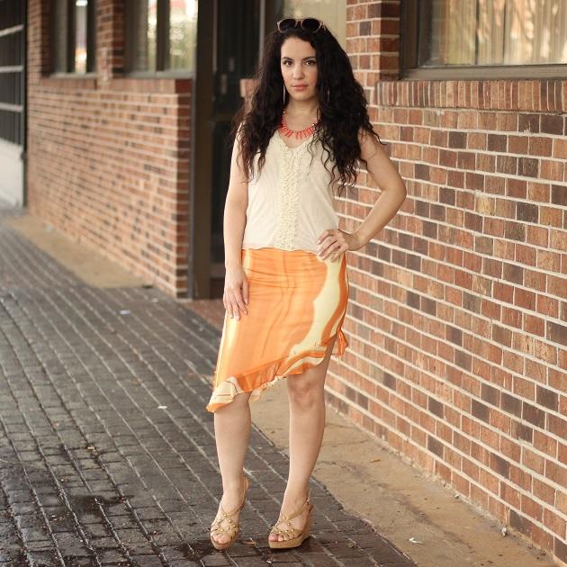 Orange Print Skirt