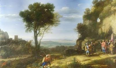 Davi e os três heróis na caverna de Adulão. Óleo sobre tela. Arte datada em 1658. Blog Belverede. Eliseu Antonio Gomes. https://belverede.blogspot.com.br