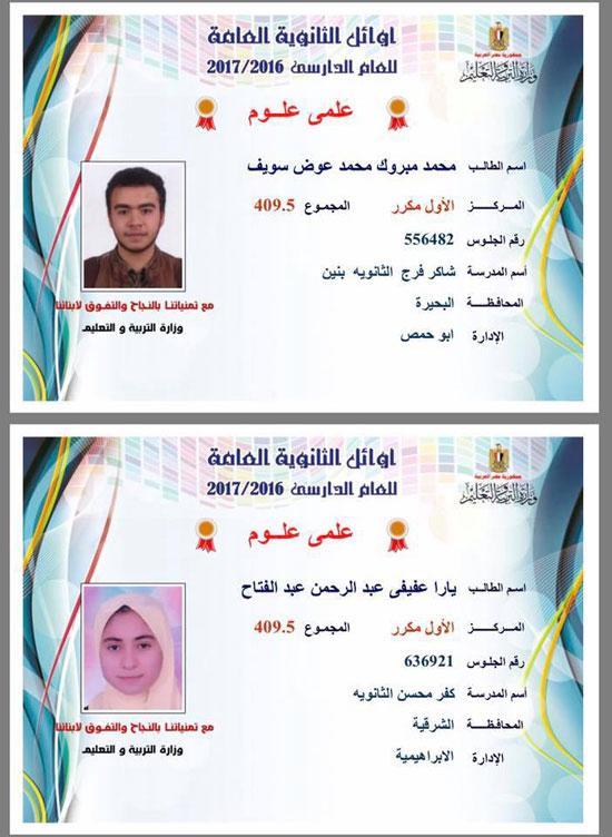 بالصور والاسماء تعرف على 55 طالب هم اوائل الثانوية العامة على مستوى جمهورية مصر العربية