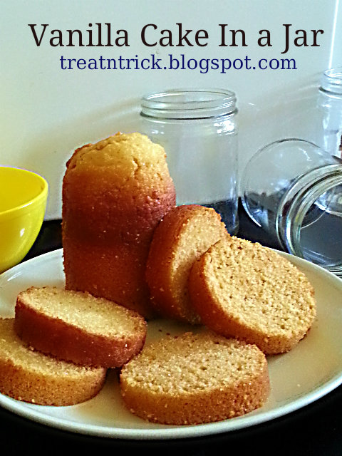 Vanilla Cake In a Jar Recipe @ http://treatntrick.blogspot.com