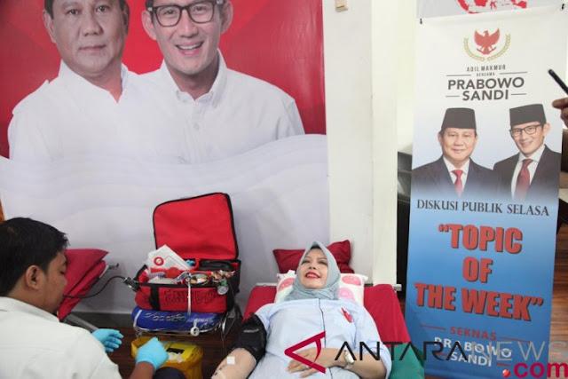 Rumah Aspirasi Prabowo-Sandi Ajak Relawan Jokowi Donor Darah
