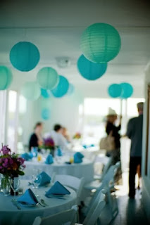 teal wedding paper lanterns