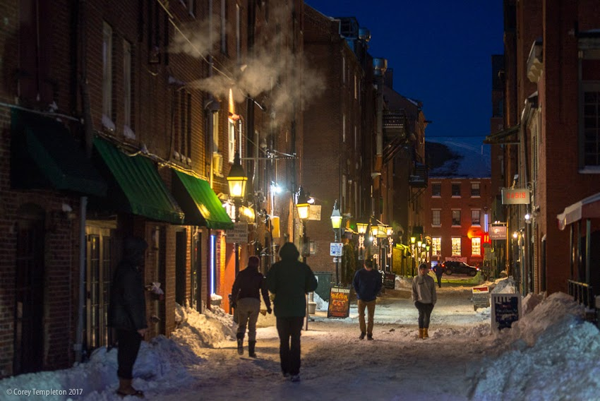 Portland, Maine USA February 2017 photo by Corey Templeton of winter evening on Wharf Street in the Old Port.