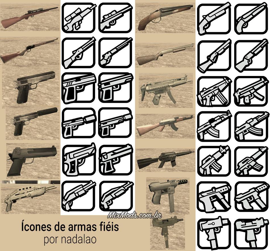 gta sa san mod ícones fiéis redesenhados hd weapons icons