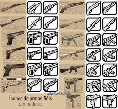 gta sa mod fixed weapons guns icons hd ícones corrigidos
