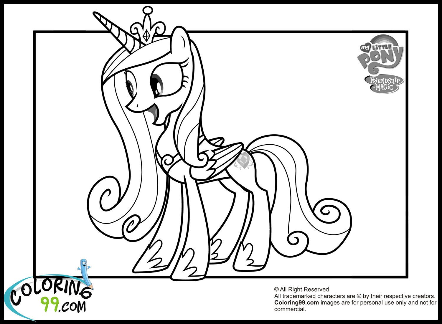 Princess Cadence Coloring Pages Team Colors My Little Pony