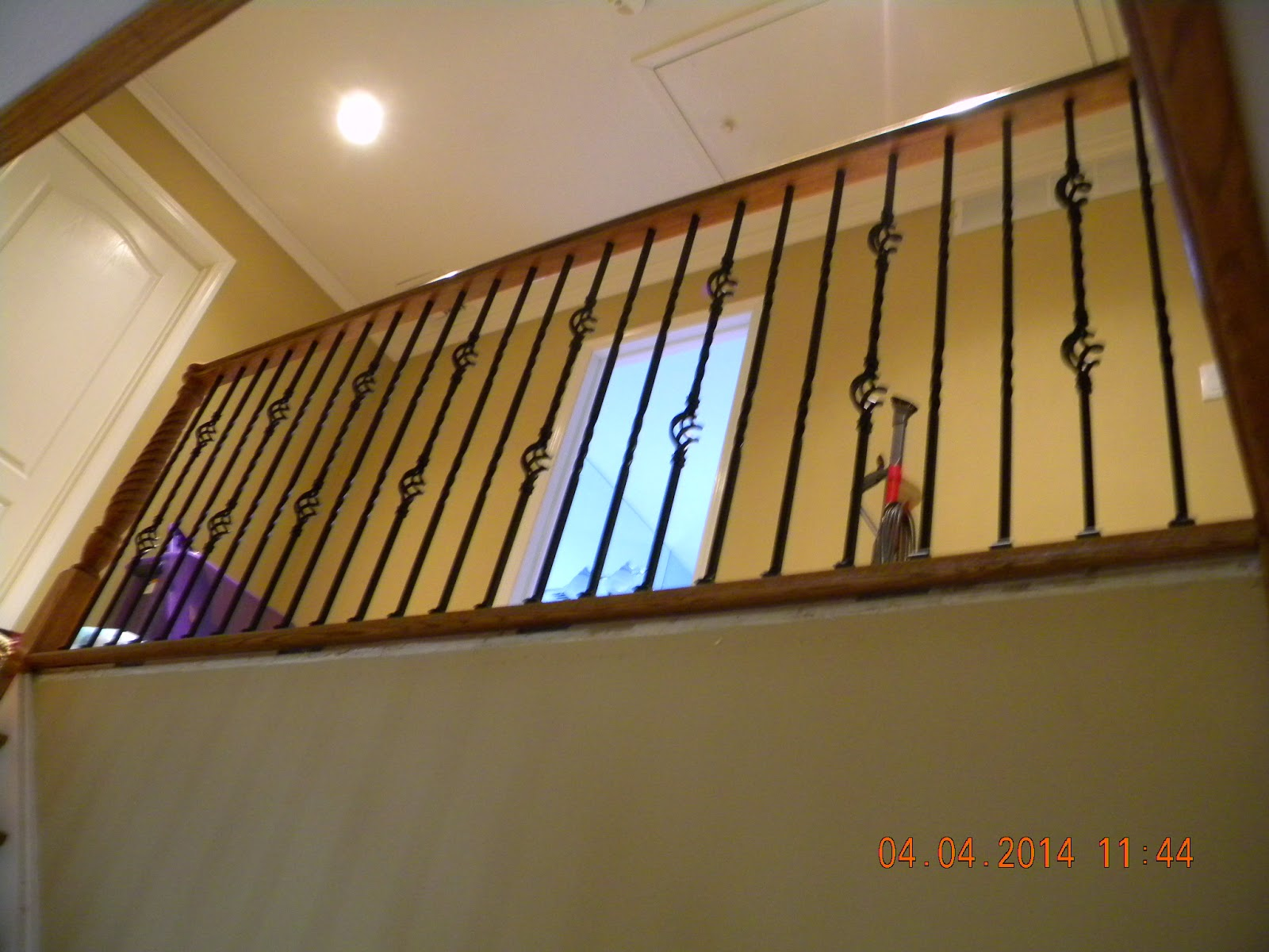 Wood Stairs And Rails And Iron Balusters Wood Handrail With Iron | Wood Handrail With Iron Balusters | Stairway | Wooden | Copper | Cast Iron | Landing