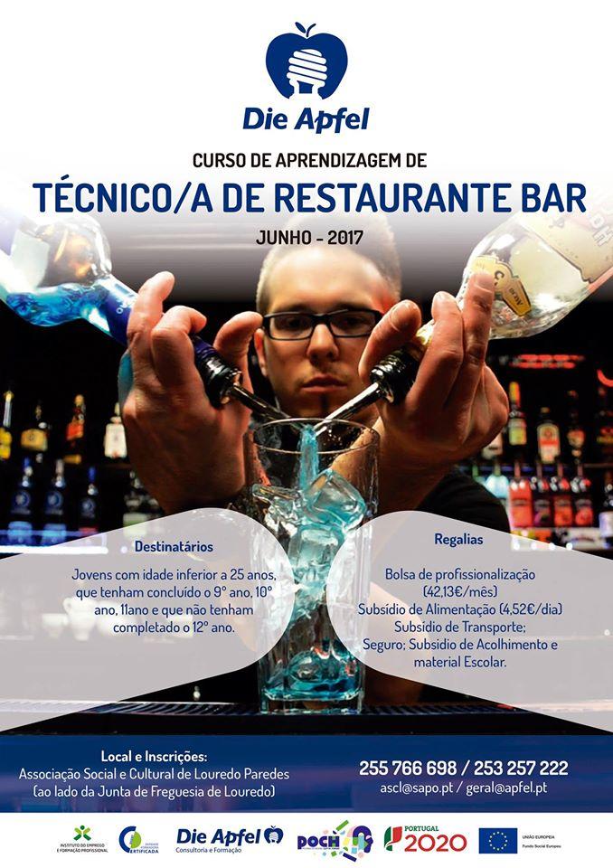 Curso de aprendizagem de Restaurante/Bar em Louredo – Paredes