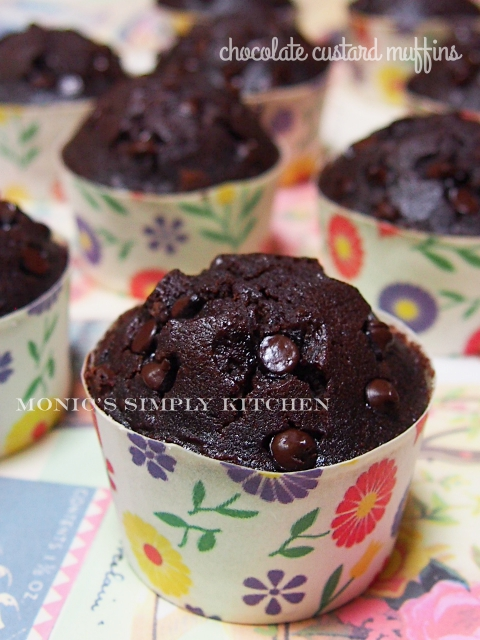 resep chocolate custard muffin