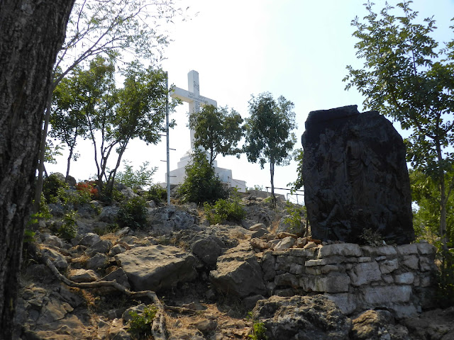 A photo of the white Cross at Cross Mountain, Medjugorje
