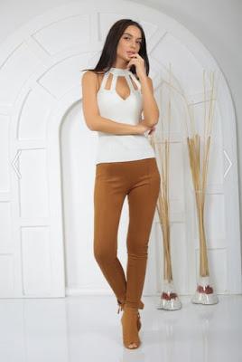 Bayan süet pantolon kahverengi