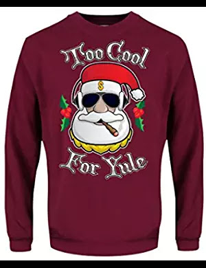 Men's Too Cool For Yule Christmas Sweater Burgundy Ugly Christmas Sweater #coolyule #christmasmusic #learnyourcharistmascarols #uglychristmassweater available on Amazon