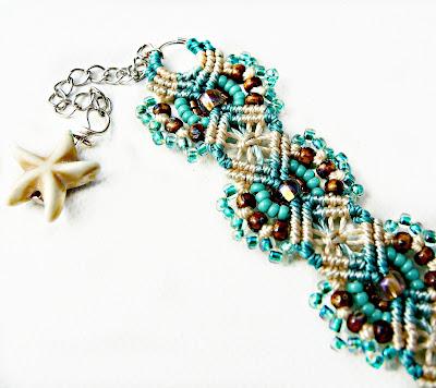 Micro macrame with beads by Sherri Stokey.