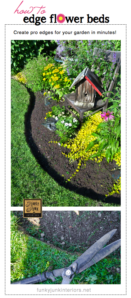 #1 - How to edge flowerbeds like a pro - via https://www.funkyjunkinteriors.net/