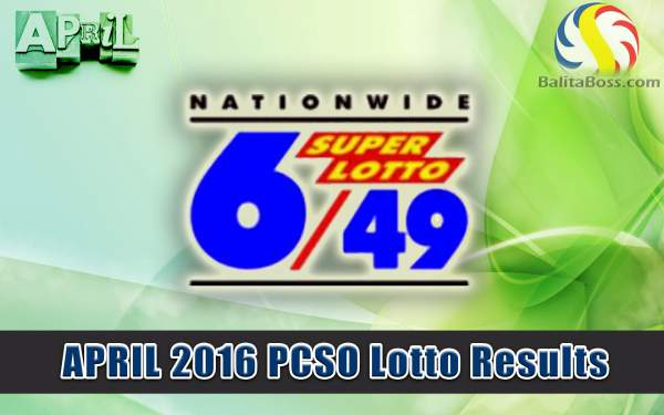 Image: April 2016 PCSO Superlotto 6/49