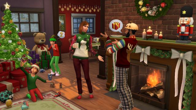 Escena realizada con el pack gratuito de Navidad Los Sims 4 Felices Fiestas