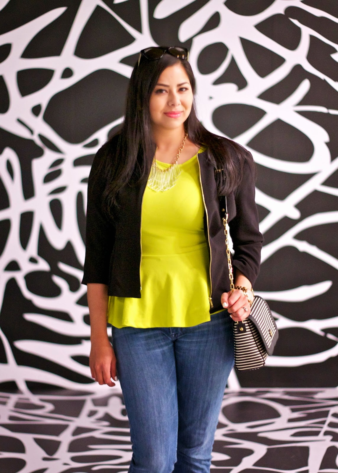 yellow neon peplum, yellow peplum forever 21