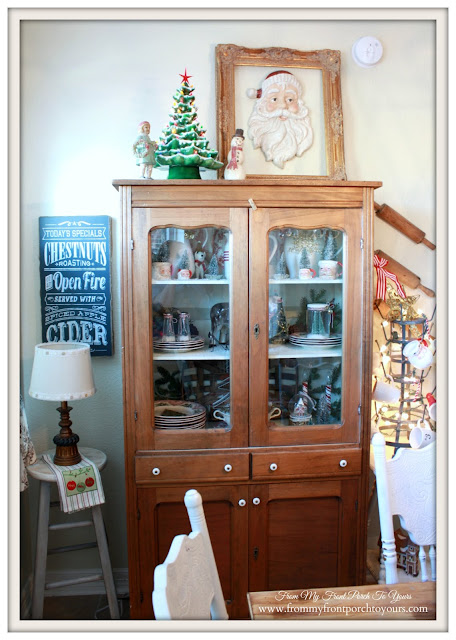 Farmhouse Christmas Kitchen-Vintage Pie Safe-From My Front Porch To Yours