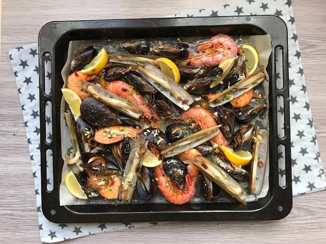 mariscada al horno receta