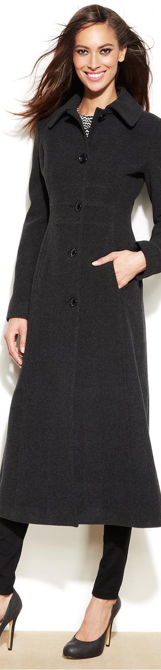 Anne Klein Maxi wool blend walker coat