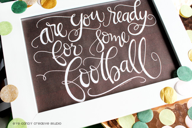 game day art, football art print, hand lettering, party confetti, football colors
