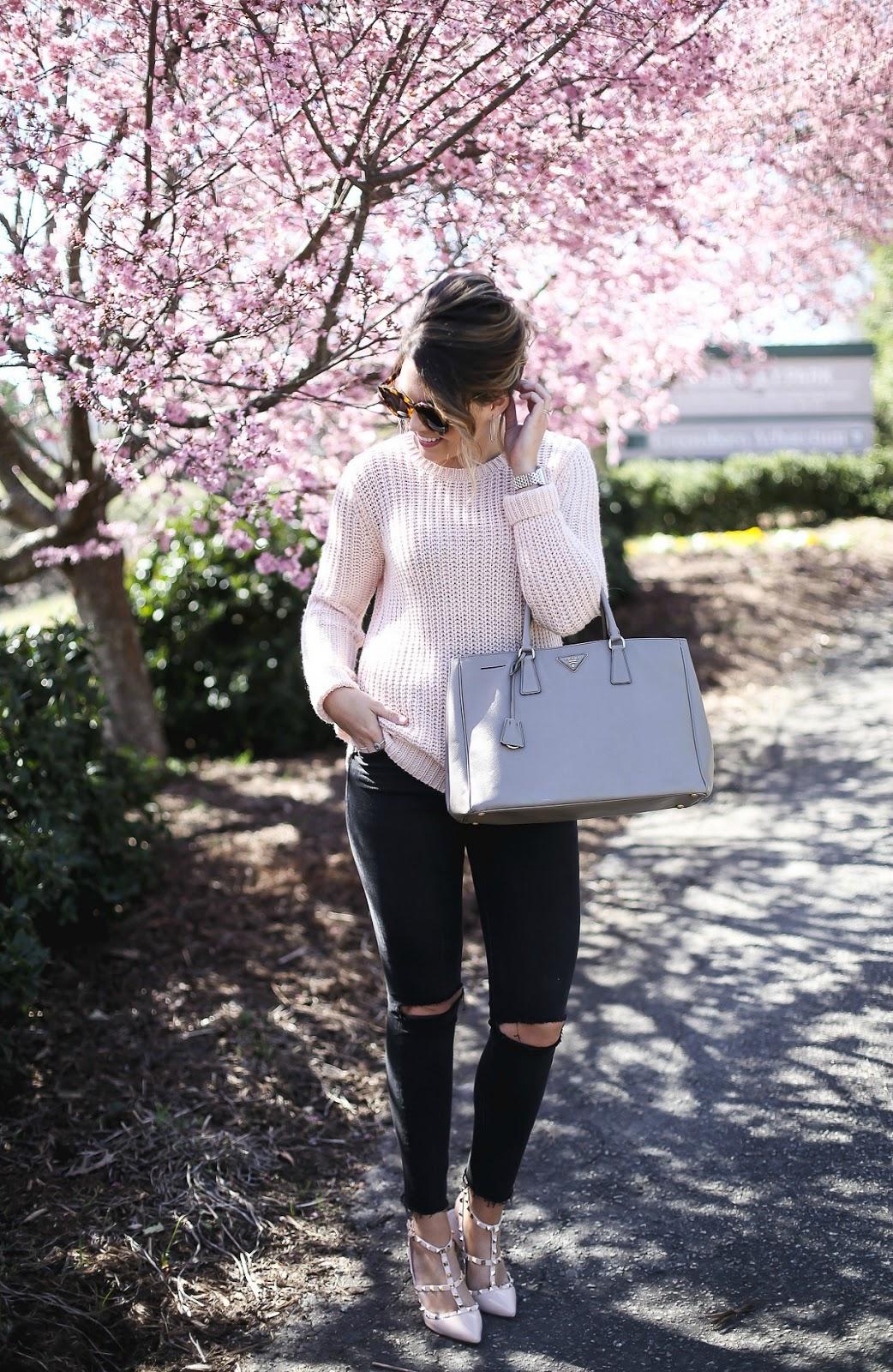 blush pink sweater, nordstrom, prada, karen walker, pink peonies