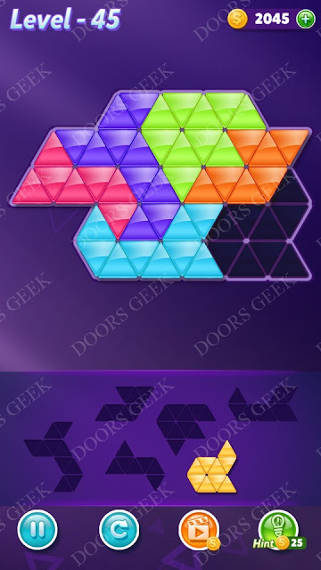 Block! Triangle Puzzle Intermediate Level 45 Solution, Cheats, Walkthrough for Android, iPhone, iPad and iPod